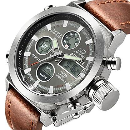 Herren-Sport-Analog-Quarz-Digital-Uhren-braun-mit-Lederband-Alarm-Chronograph-Wasserdicht-Armbanduhr-Silber