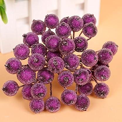 200pcs-Mini-Weihnachten-Dekoration-Knstliche-Frucht-Beere-Holly-Blumen-Lila