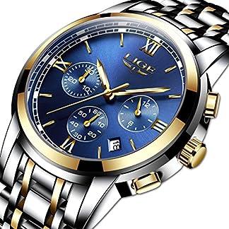 Herren-uhrenLIGE-Herren-Edelstahl-Wasserdicht-Sport-Analog-Quarzuhr-Chronograph-Datum-Kalender-Mode-Lssig-Luxus-Kleid-Armbanduhr-Gold-Blau