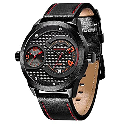 Menton-Ezil-Armbanduhr-fr-Mnner-Einzigartige-Herrenuhr-Leuchtende-Zeiger-Datumszeige-3ATM-wasserdicht-Analog-Quarz-Lederband-schwarz