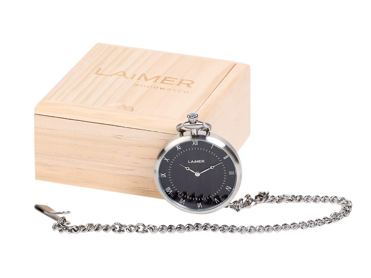 LAiMER-Holzuhr-Taschenuhr-mit-Kette-aus-Edelstahl-und-Zifferblatt-aus-Sandelholz
