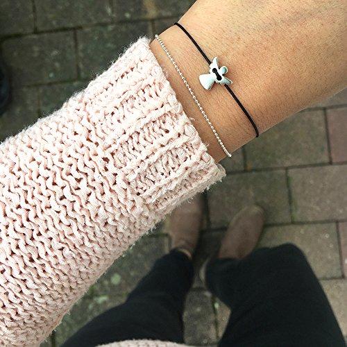 Schutzengel Armband – Silber Schwarz – Filigranes Armbändchen als Glücksbringer