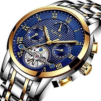 Herren-uhrenLIGE-Automatik-mechanische-Armbanduhren-Edelstahl-wasserdichte-Datum-Kalender-Mondphase-Kleid-Uhr-Mode-lssig-Skelett-Tourbillon-Uhr-Gold-blau