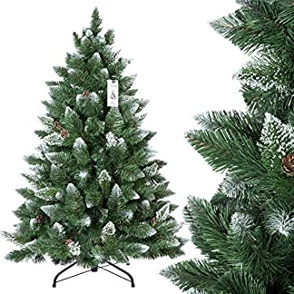 FairyTrees-knstlicher-Weihnachtsbaum-Kiefer-Natur-Weiss-beschneit-Material-PVC-echte-Tannenzapfen-inkl-Metallstnder-FT04
