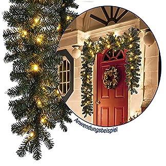 Tolle-Weihnachtsbeleuchtung-Girlande-beleuchtet-Tannengirlande-40-LED-Lichterkette-270-cm-Weihnachten-auen