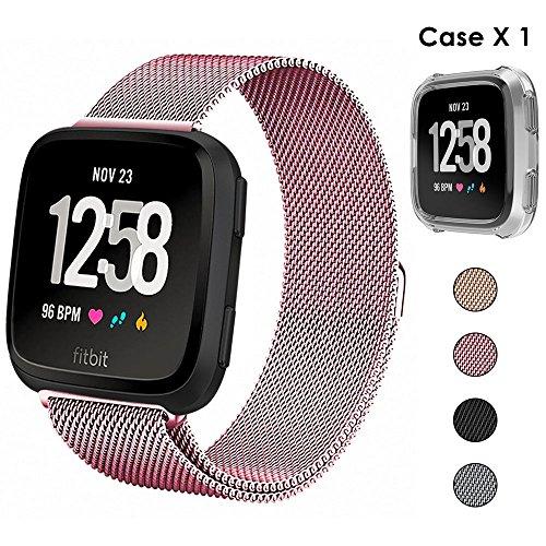 CAVN-Fitbit-Versa-Armband-Schnellspanner-Watch-Band-mit-Mailnder-Loop-Edelstahl-Metallersatz-Armband-Strap-mit-Einzigartigen-Magnet-Schloss-Zubehr-Armbnder-fr-Fitbit-Versa-Smart-Uhr