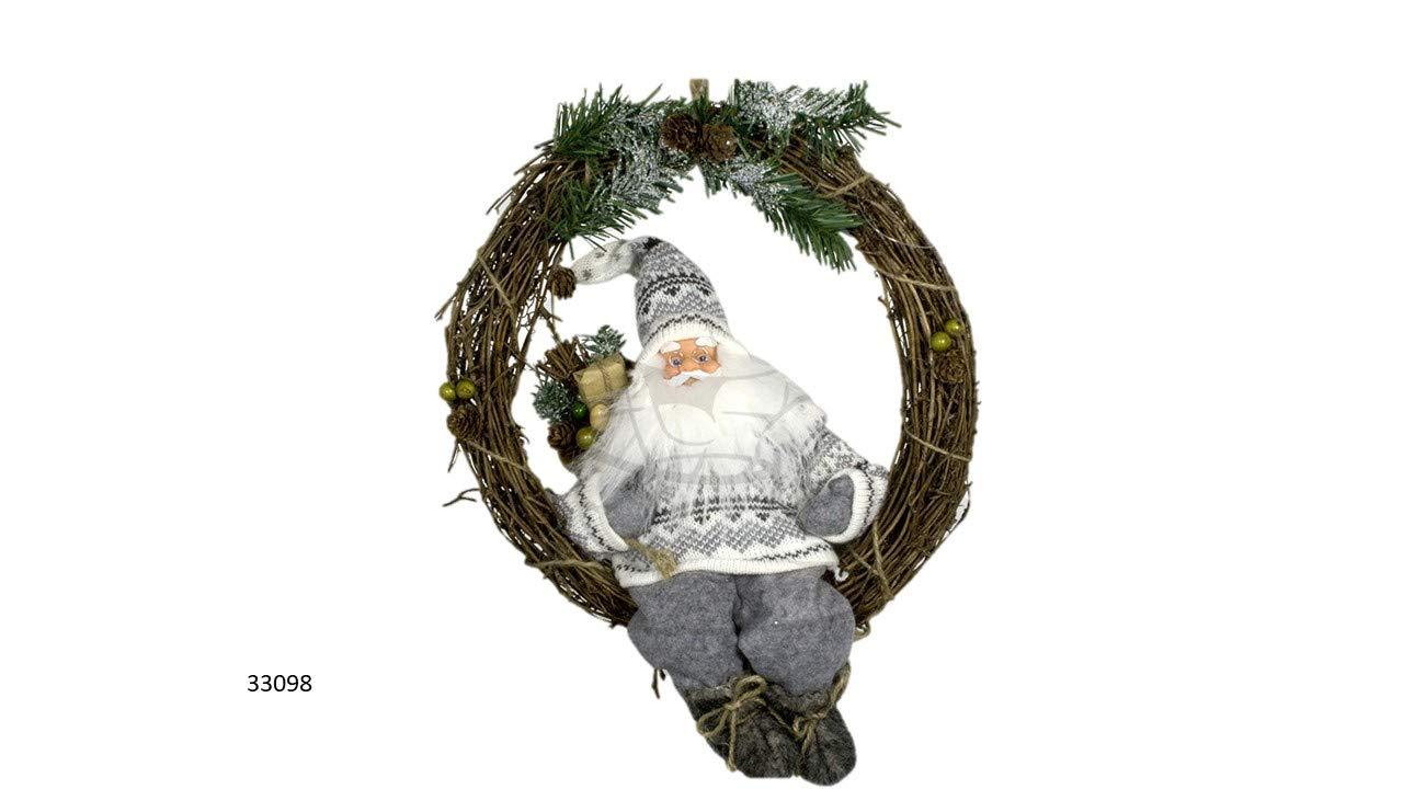 Weihnacht-Weihnachtsdekoration-Trkranz-Weihnachtsmann-30-cm-im-Kranz-Fensterbild-Weihnachtskranz-Weihnachtsdekokranz-wei