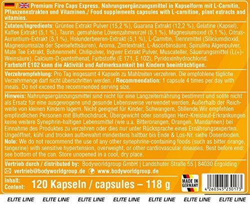 BWG Premium Fat Burner Fire Caps Express, Definitionsphase, Top mit natürlichen Pflanzenextrakten u.a. Grüntee und Guarana und L-Carnitin,  Elite Line, 120 Kapseln, 1er Pack (1 x 118g Dose)