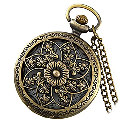 Lancardo-Retro-Damen-Taschenuhr-Hohe-Openwork-Camellia-Muster-Kettenuhr-Analog-Quarz-Uhr-1224H-digital-Ziffern-Zifferblatt-mit-Halskette-Pocket-Watch-in-Farben-Bronze