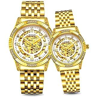 Binlun-Armbanduhr-fr-Sie-und-Ihn-18-Karat-Gold-ionenbeschichtet-50-m-wasserdicht-luxuris
