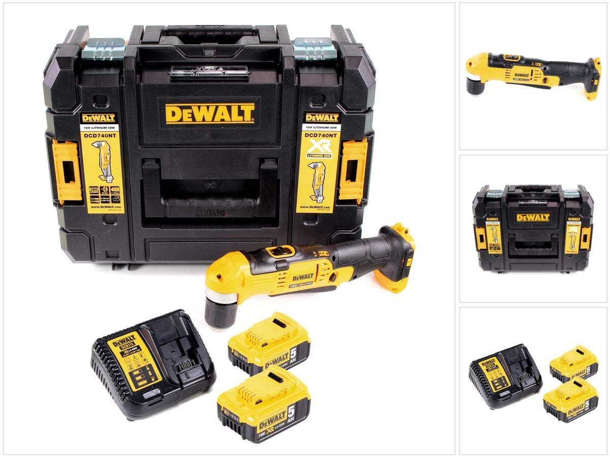 Dewalt-DCD-740-P2-18-V-Li-Ion-Akku-Winkelbohrmaschine-im-TSTAK-II-Koffer-2x-50-Ah-Akku-Ladegert