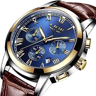 Uhren-Herren-Casual-Fashion-Braun-Lederband-Uhren-Herren-Chronograph-Wasserdicht-Sport-Datum-Quarz-Armbanduhr-Blau
