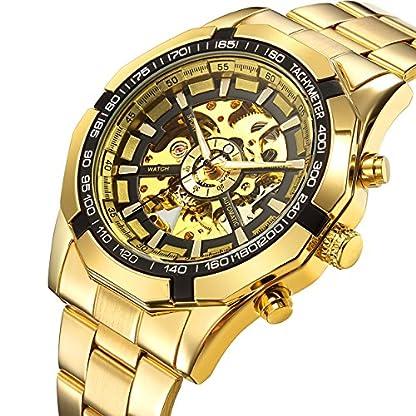affute-Herren-Automatische-mechanische-Skelett-Ziffernblatt-Analog-Handgelenk-Uhren-Edelstahl-Armband-Gold
