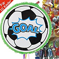 Pinata-Set-FUSSBALL-mit-100-teiliger-Sigkeiten-Fllung-No1-von-Carpeta-Handgefertigte-spanische-Pinata-Tolles-Spiel-fr-Kindergeburtstag-oder-Mottoparty