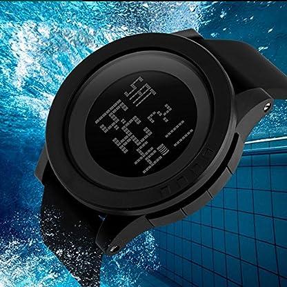 Souarts-Herren-Damen-Armbanduhr-Digital-Display-Sport-Uhr-LED-Wecker-Kalender-Stoppuhr-Wasserdichte-Armbanduhr-27cm-Schwarz