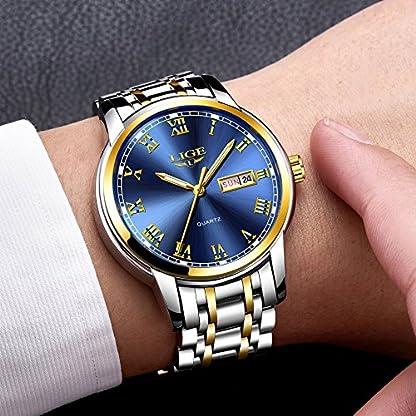 LIGE-Herren-Uhren-Edelstahl-Mesh-Wasserdicht-Sport-Analoger-Quarz-Uhr-Beilufig-Armbanduhr