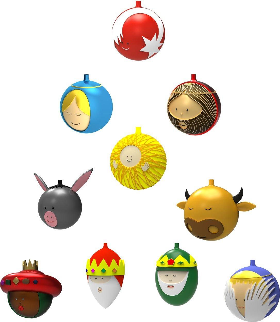 Alessi-Weihnachtskugeln-Porzellan-Bunt-56-x-316-x-33-cm-10-Einheiten