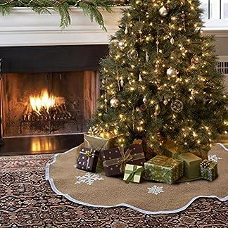 Aparty4u-Weihnachtsbaum-Rock-Jute-Weihnachtsbaumdecke-Schneeflocke-Baum-Rock-Vintage-Weihnachten-Dekoration-Jute-122cm-Dia