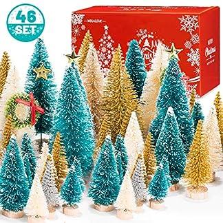 Whaline-46-Set-Mini-Weihnachtsbume-knstliche-mattierte-Sisal-Bume-Flaschenbrste-Bume-mit-Holzsockel-DIY-Basteln-Mini-Kieferbaum-fr-Weihnachten-Urlaub-Zuhause-Tischdeko-Winterschmuck