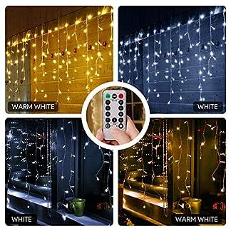 LE-LichterketteLED-Lichterkettenvorhang-180-LEDsKalt-und-Warmwei-dimmbar9-Modi-mit-Fernbedienung5m-07m-Strombetrieben-mit-Steckerideal-fr-WeihnachtsdekoDekoPartyHochzeit-usw