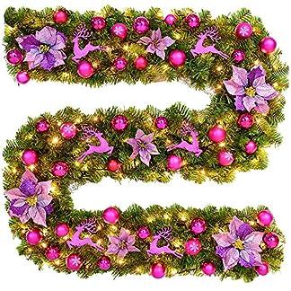 DULEE-27M9ft-Knstliches-Weihnachten-Dekoration-Weihnachtsgirlande-LED-Lichter-Tannengirlande-Grne-Kiefer-Kranz-Girlande-Weihnachtsbaum-Dekoration