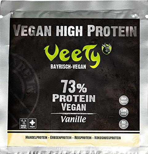 Veety Protein Shake – der 4in1 Mix (Vanille) | Reisprotein, Erbsenprotein, Mandelprotein, Kokosprotein | Veganes Protein Pulver mit natürlichem Vanillegeschmack, Sojafrei | 1x 30g