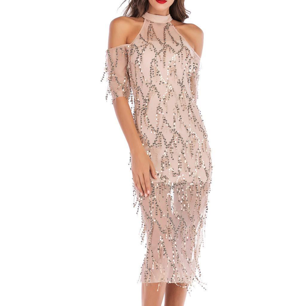 JYJM-Frauen-Halfter-Halbarm-Schulterfrei-Pailletten-Troddel-Cocktail-Abendkleid-Kleid-Damen-Jersey-Kleid-Basic-Damen-Kleid-Abendkleid-Schulterfreies-Cocktailkleid-Jerseykleid-Skaterkleid-Elegant