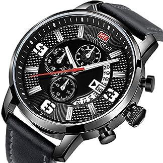 Uhren-Herren-Sportuhren-Chronograph-Date-Lederband-Quarz-Wasserdicht-Mode-Armbanduhr-fr-Familiengeschenk