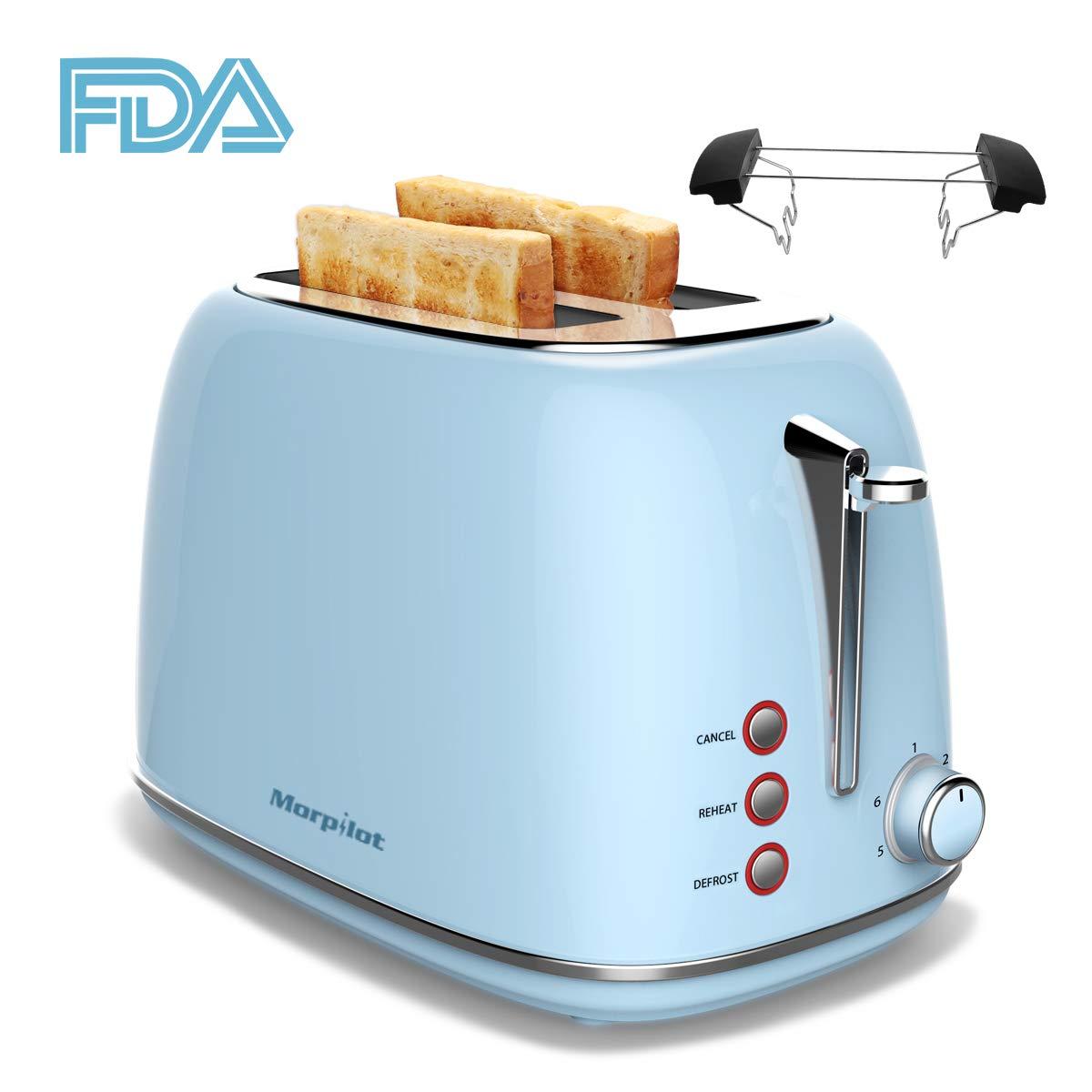 Toaster-Edelstahl-2-Scheiben-morpilot-Toaster-mit-Abnehmbarem-Brtchenaufsatz-und-Herausnehmbarer-Krmelschublade-6-Brunungsstufen-Auftaufunktion-Aufwrmfunktion-815W-Blau