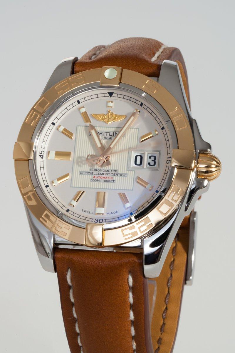 Breitling-Herren-Analog-Automatik-Uhr-mit-Leder-Armband-C49350L2G701425X