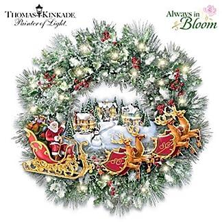 The-Bradford-Exchange-Weihnachten-mit-Santa-Claus-Thomas-Kinkade-Weihnachtskranz-mit-Beleuchtung-und-Musik