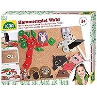 Lena-65829-Hammerspiel-Wald-Nagelspiel-mit-64-farbigen-Teilen-in-7-Formen-und-8-Wald-Teilen-Grundplatte-aus-Kork-ca-28-x-195-cm-Hammer-und-Ngel-Hmmerchenspiel-fr-Kinder-ab-3-Jahre