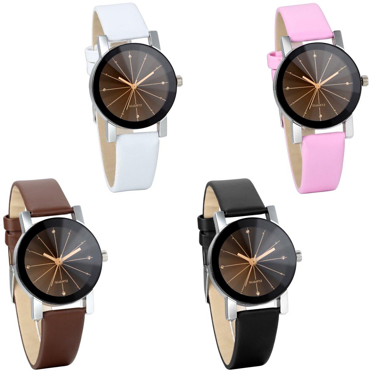 JewelryWe-Damen-Armbanduhr-Analog-Quarz-Klassiker-Elegant-Business-Casual-Uhr-mit-Schwarz-Rund-Zifferblatt-Leder-Armband-4-Farben