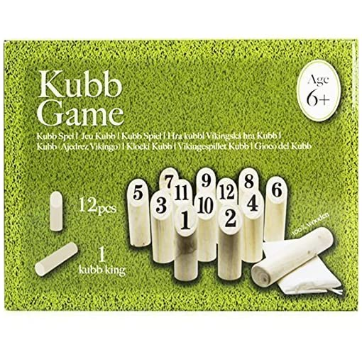 DRULINE-Kubb-Spiel-Wikingerspiel-Rasenschach-Wurfspiel-Holz-Spielzeug-Wikingerkegeln