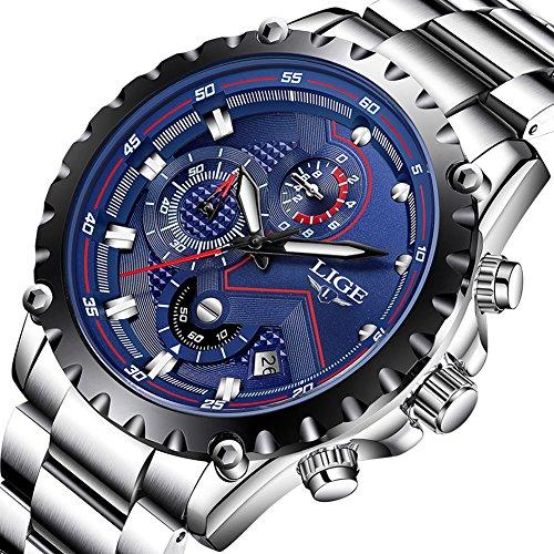 Herren-Uhren-Fashion-Sport-Wasserdicht-Analog-Quarzuhr-Chronograph-LIGE-Luxusmarke-Herren-Edelstahl-Klassisch-Blau-Geschenk-Armbanduhr