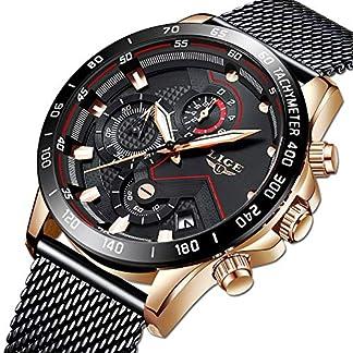LIGE-Herren-Uhren-wasserdichte-Edelstahl-Analoge-Quarz-Armbanduhr-Mnner-Blau-Herren-Sport-Herrenuhr-Militr-Chronograph-mit-Milanaise-Armband