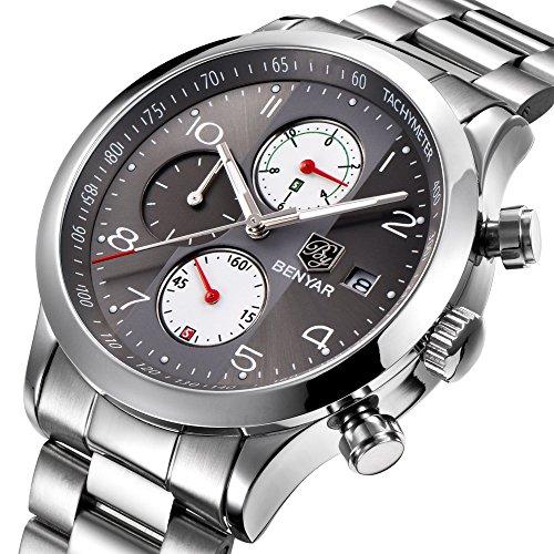 benyar-Herren-Armbanduhr-Chronograph-Wasserdicht-Uhren-Business-Sport-Edelstahl-Strap-Armbanduhr-fr-Herren