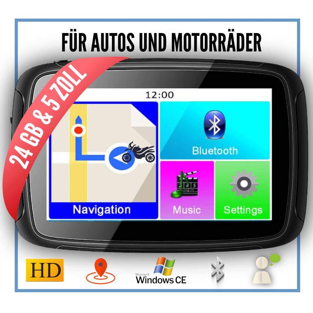 Elebest-Rider-W5-Navigationsgert-5-Zoll-PKWMotorradBluetoothWasserdichtNeuste-Europa-Karten-sowie-Radarwarner-24GB-SpeicherKostenlose-Kartenupdate
