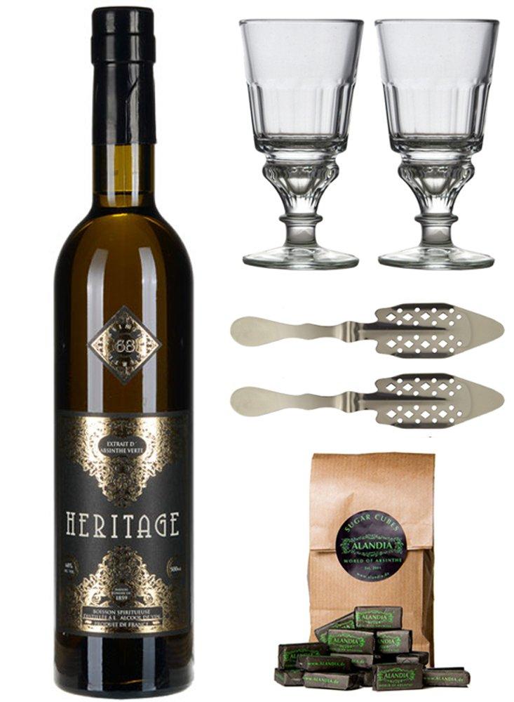 Absinth-Set-Heritage-Verte-Premium-Absinthe-mit-Weinalkohol-destilliert-2x-Absinth-Glser-2x-Absinth-Lffel-1x-Absinth-Zuckerwrfel-1x-05-l