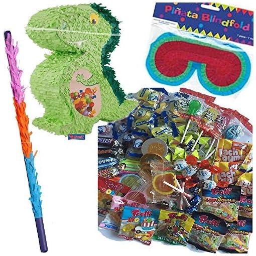 Pinata-Set-Dino-mit-Maske-Schlger-100-teiliger-Sigkeiten-Fllung-No1-von-Carpeta-Handgefertigte-Spanische-Pinata-Tolles-Spiel-fr-Kindergeburtstag-Oder-Mottoparty