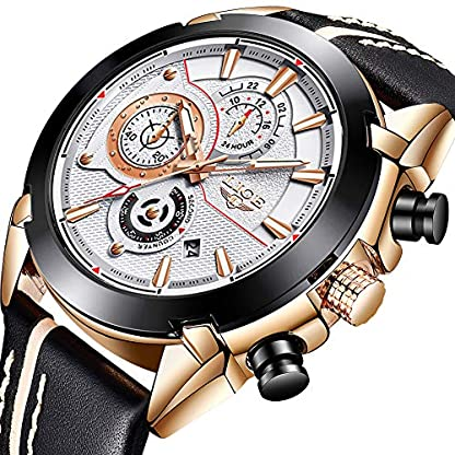 Herrenuhren-Wasserdicht-Chronograph-Militr-Sport-Multifunktions-Analog-Quarzuhr-LIGE-Groes-Gesicht-Lederarmband-Mode-Casual-Luxus-Kleid-Armbanduhr-Rose-Gold-Wei