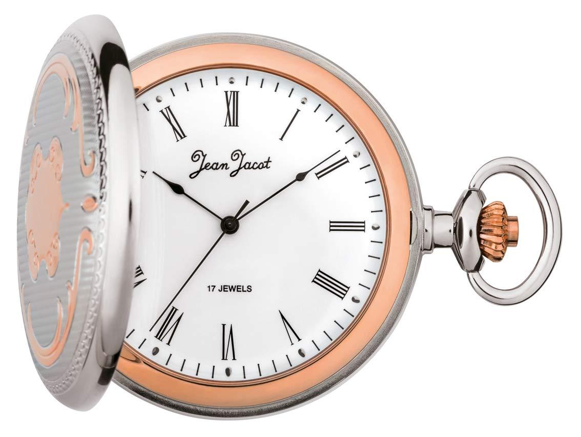 JEAN-JACOT-Taschenuhr–Zeitloses-Accessoire-fr-KULTIVIERTE-Herren–Handaufzug–Rckseitiger-Glasausschnitt–Inklusive-Kette-Gehuse–50-x-12-mm–C335284