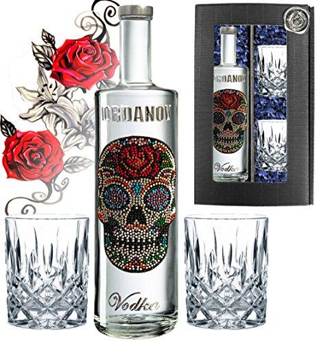 100-Vodka-Geschenkset-Flower-Skull-Luxus-Wodka-Iordanov-im-Geschenk-Chrome-fr-Mnner