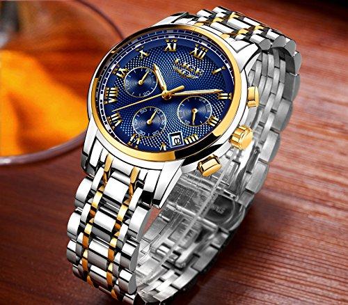 Uhren-fr-MnnerWasserdicht-Edelstahl-Analoger-Quarz-Watch-Mnner-Luxus-marke-LIGE-Business-Kleid-Armbanduhr-Mann-Gold-Blau-Uhr