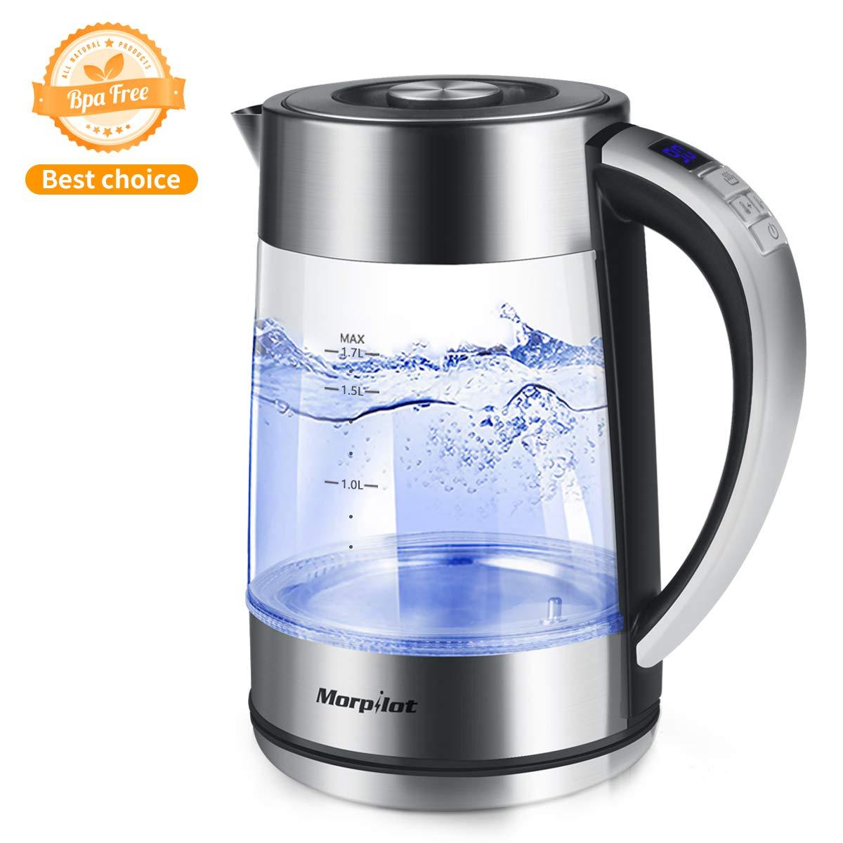 Morpilot-Wasserkocher-aus-Glas-mit-Temperaturanzeige-Warmhaltefunkion-Temperatureinstellung-40-100C-2000W-Schnellkoch-17L-BPA-Frei-LED-Beleuchtung-Automatische-Abschaltung-Trockengehschutz