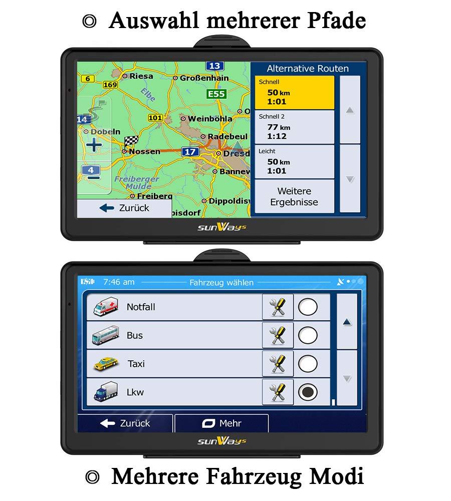 Sunways-7-Zoll-Navigation-fr-Auto-PKW-Navi-LKW-Navigationsgert-mit-Blitzerwarnung-Sprachfhrung-Fahrspurassistent-installiere-Deutschland-etc-49-Europa-Karten-Lebenslang-Kostenloses-Kartenupdate