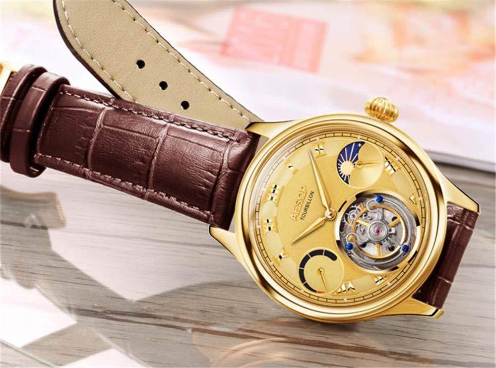 Aesop-Herren-Armbanduhr-mit-mechanischem-Handaufzug-echtes-Tourbillon-Businesskleid-Mondphase-Lederband