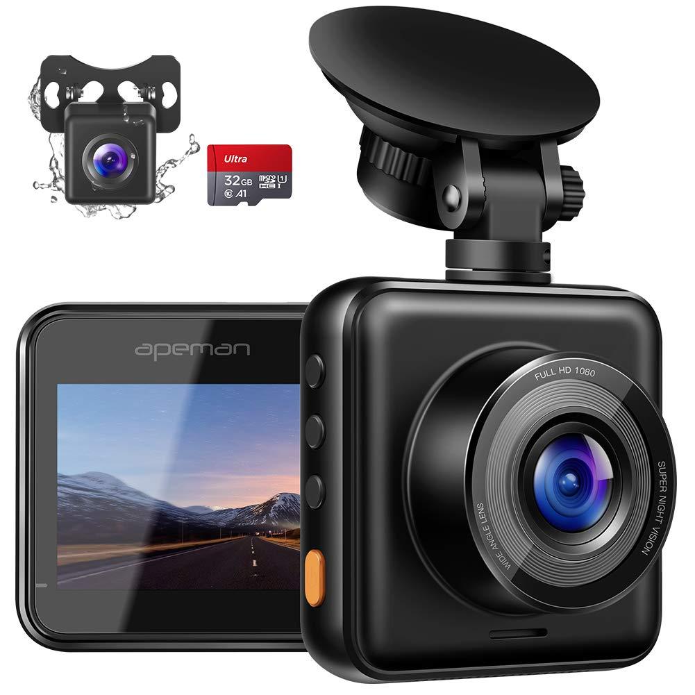 APEMAN-Dashcam-Vorne-und-Hinten-Autokamera-mit-MicroSD-Karte-1080P-FHD-Mini-Dual-Lens-Kamera-170–Weitwinkel-mit-Nachtsicht-G-Sensor-Parkberwachung-Loop-Aufnahm-und-WDR