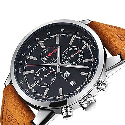Chronograph-Uhr-Herren-mit-Luxus-Wasserdicht-Business-Analog-Quarz-Schwarz-Zifferblatt-Armbanduhr-fr-mnner-Leder-Band-Braun