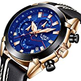 Uhren-fr-HerrenLIGE-Chronograph-Wasserdicht-Militr-Sport-Analog-Quarzuhr-Lederband-Groes-Gesicht-Datum-Mode-Casual-Kleid-Armbanduhr-Rosgold-blau